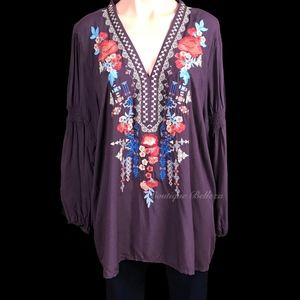 Plus Size Custom Embroidered Woven Top In Eggplant